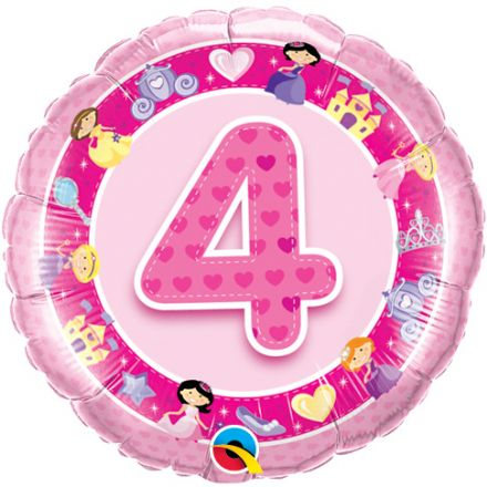 4th Birthday Princesses Pink Foil Balloon